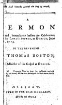 The Best Security Against the Day of Wrath. A Sermon Preached Immediately Before the Celebration of the Lord's Supper, at Etrick, June 7th, 1713. By ... Thomas Boston .. ebook
