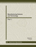 Manufacturing Science and Technology  ICMST2011