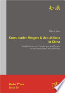Cross-border Mergers & Acquisitions in China