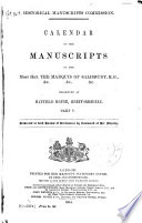 Calendar of the Manuscripts of the Most Honourable the Marquess of Salisbury