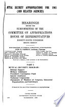 Mutual Security Appropriations for 1961 (and Related Agencies)