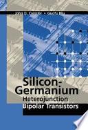 Silicon Germanium Heterojunction Bipolar Transistors Book PDF