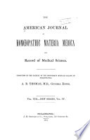 The American Journal Of Homoeopathic Materia Medica And Record Of Medical Science