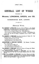 General List of Works Published by Messrs  Longman  Green  and Co  Paternoster Row  London