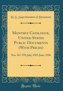 Monthly Catalogue United States Public Documents With Prices