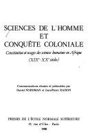 Sciences de l'homme et conquête coloniale