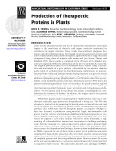 Production of Therapeutic Proteins in Plants