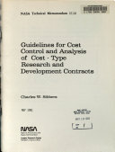 Guidelines for Cost Control and Analysis of Cost type Research and Development Contracts Book