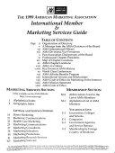 The American Marketing Association International Member Marketing Services Guide