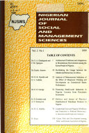 Nigerian Journal Of Social And Management Sciences