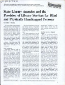 State Library Agencies and the Provision of Library Services for Blind and Physically Handicapped Persons