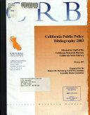 California Public Policy Bibliography