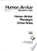 Human Services Planning In Urban Areas Book PDF