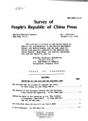 Survey of People's Republic of China Press