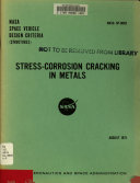 Stress corrosion Cracking in Metals