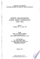 İngiliz belgelerinde Lozan Bariş Konferansi, 1922-1923
