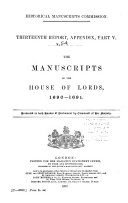 The Manuscripts of the House of Lords 1678  1693