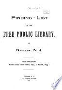Finding List of the Free Public Library of Newark, N.J.