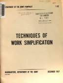 Techniques of Work Simplification