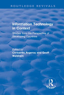 Information Technology in Context  Studies from the Perspective of Developing Countries