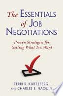 The Essentials of Job Negotiations