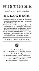 Histoire Générale Et Particulière De La Grèce