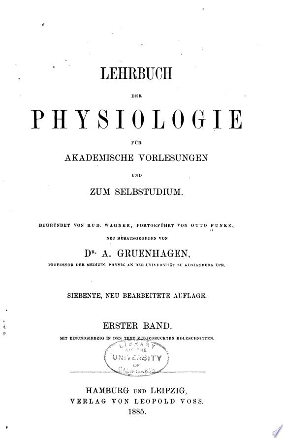 Lehrbuch der Physiologie f  r akademische Vorlesungen und zum Selbstudium