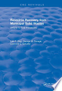 Resource Recovery From Municipal Solid Wastes