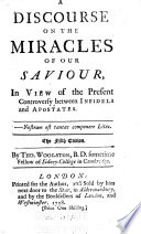 A Discourse on the Miracles of Our Saviour