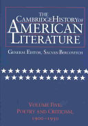 The Cambridge History Of American Literature Volume 5 Poetry And Criticism 1900 1950
