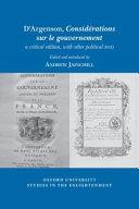 D Argenson  Consid  rations Sur le Gouvernement  a Critical Edition  with Other Political Texts