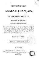 Dictionnaire Francais-anglais Et Anglais-francais, Abrege de Boyer. Tome I.er-[II]