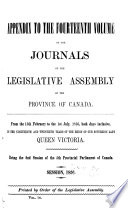 Journals of the Legislative Assembly of the Province of Canada  Appendix