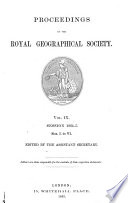 Proceedings Of The Royal Geographical Society Of London Book PDF