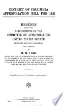 District of Columbia Appropriation Bill for 1933  Hearings Before     72 1  on H R  11361