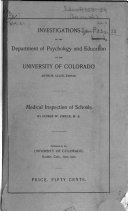 Investigations Of The Department Of Psychology And Education Of The University Of Colorado
