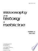 Bibliography Of The History Of Medicine Book