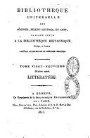 Bibliothèque universelle des sciences, belles-lettres et arts. Littérature