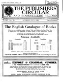The Publishers  Circular and Booksellers  Record