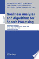 Nonlinear Analyses And Algorithms For Speech Processing Book PDF