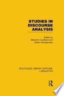 Studies in Discourse Analysis  RLE Linguistics B  Grammar
