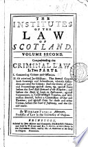 The Institutes Of The Law Of Scotland By William Forbes