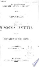 Annual Report Of The Trustees Of The Wisconsin Institution For The Education Of The Blind
