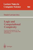 Logic and Computational Complexity