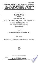 Hearings Relating to Madison Guaranty S&L and the Whitewater Development Corporation, Washington, DC Phase: without title