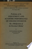 Prediction of the Adjustment and Academic Performance of College Students Book