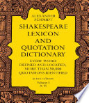 """""""Shakespeare Lexicon and Quotation Dictionary"""" by Alexander Schmidt"""