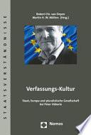 Verfassungs-Kultur  : Staat, Europa und pluralistische Gesellschaft bei Peter Häberle