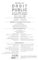 Revue du Droit Public et de la Science Politique en France et a l'Etranger