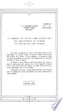 A Summary of State Laws Affecting the Employment of Minors in Factories and Stores
